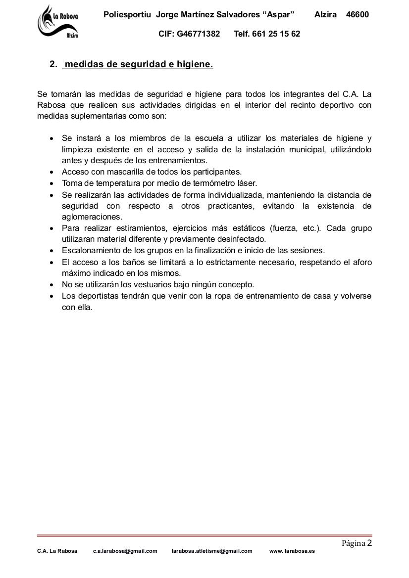 MESURES DE SEGURETAT TORNADA ALS ENTRENAMENTS 2